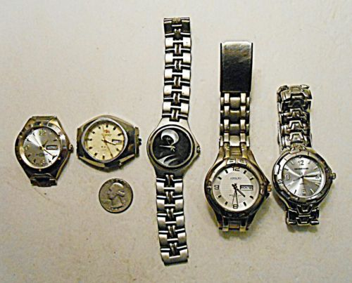 Small Lot Vtg Watches 4 Parts Orient 21 Crystal Jewels Anchor Blue Geneva Quartz