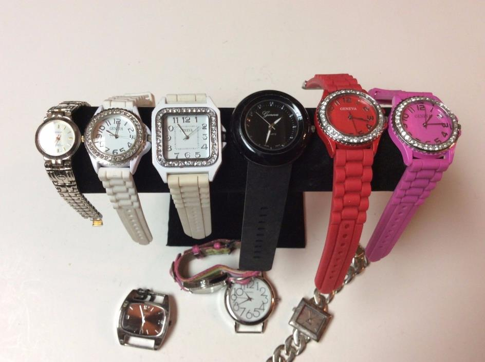 Lot of 10 Geneva womens watches,clean,sold as-is for parts/repair,          T447
