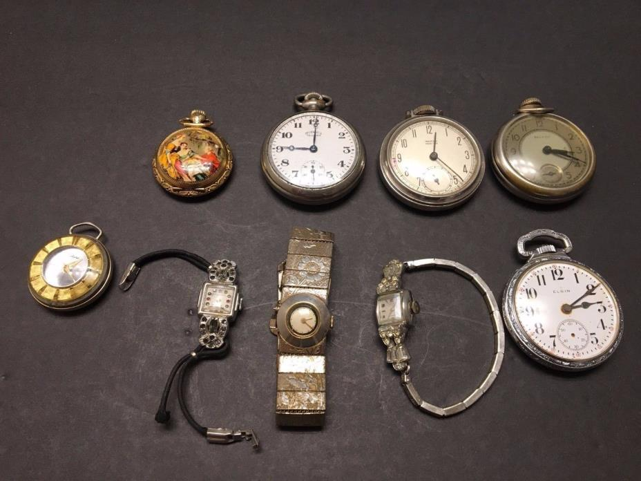 Vintage pocket and wrist watch lot of 9 Majestime Elgin Bulls Ingersoll & more