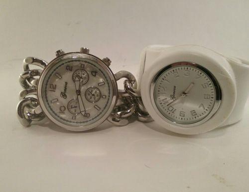 Mens Geneva Wrist Watches x2 As-Is Untested Chrono White Black