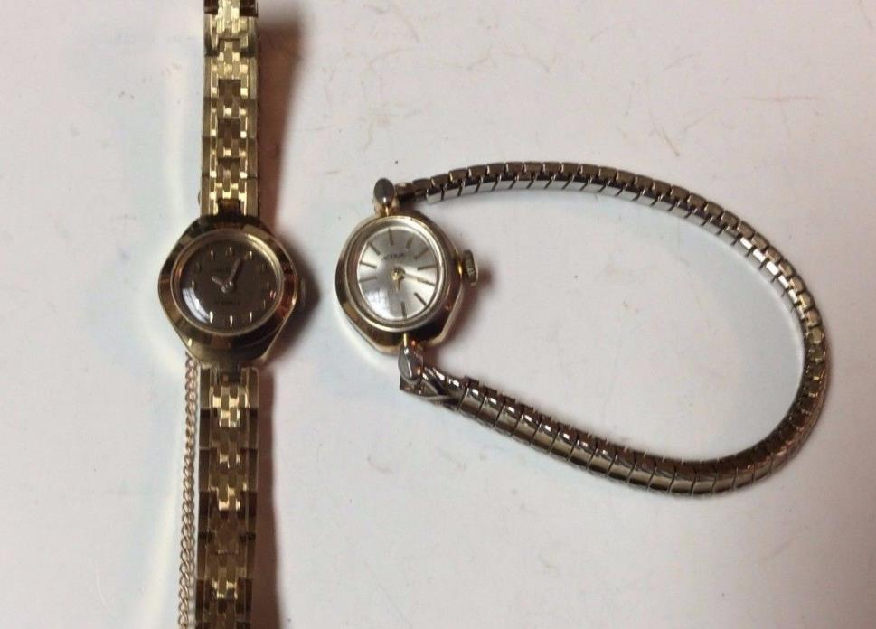 Lot of 2 vintage mechanical womens watches,Waltham & Accua,both run, as-is  T386