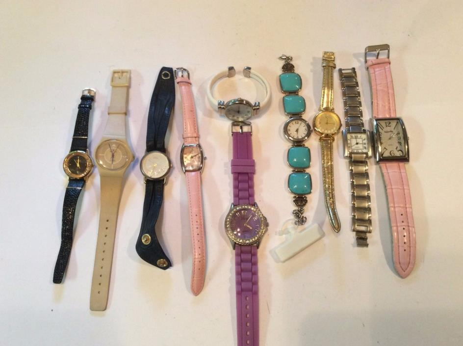 Lot of 10 women watches,rare find,decent watches,sold as-is,4 parts/repair  T339