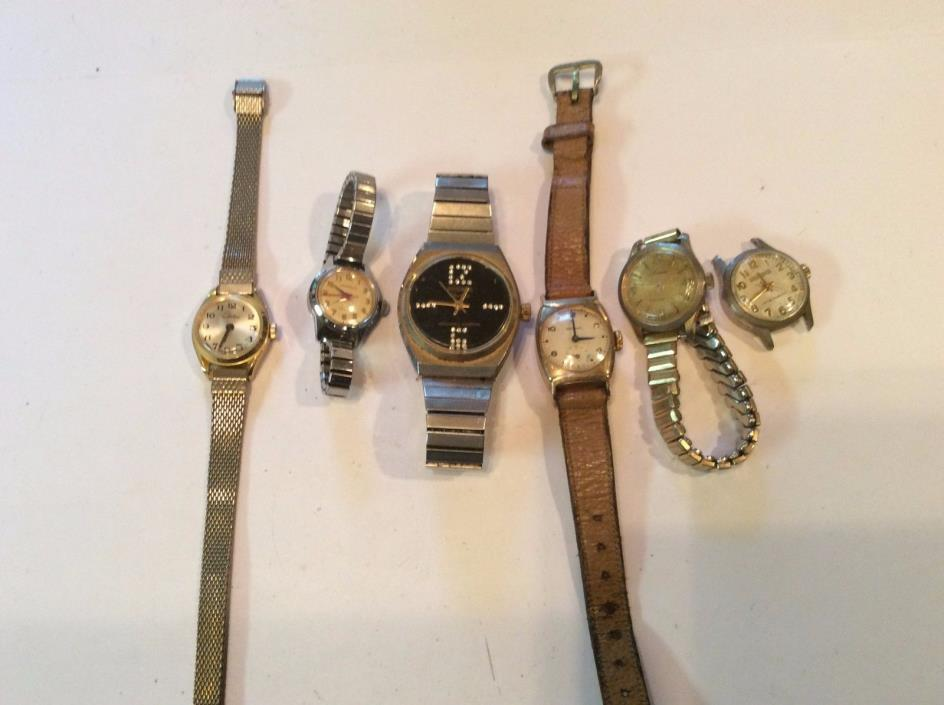 Lot of 6 mechanical watches,mostly womens and sold as-is,for parts/repair   T332