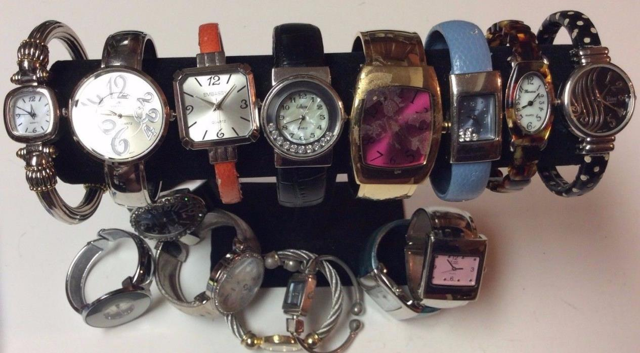 Lot of 15 womens bracelet watches,rare in a lot,sold as-is, repair/parts    T462