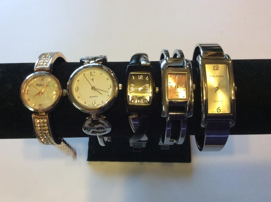 Lot of 5 womens bangle watches,intact,rare find,sold as is,parts or repair  T263