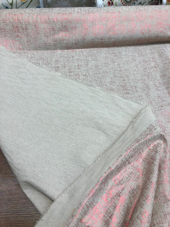 Sparkling Red Shimmer Drapery Upholstery linen Fabric by the yard