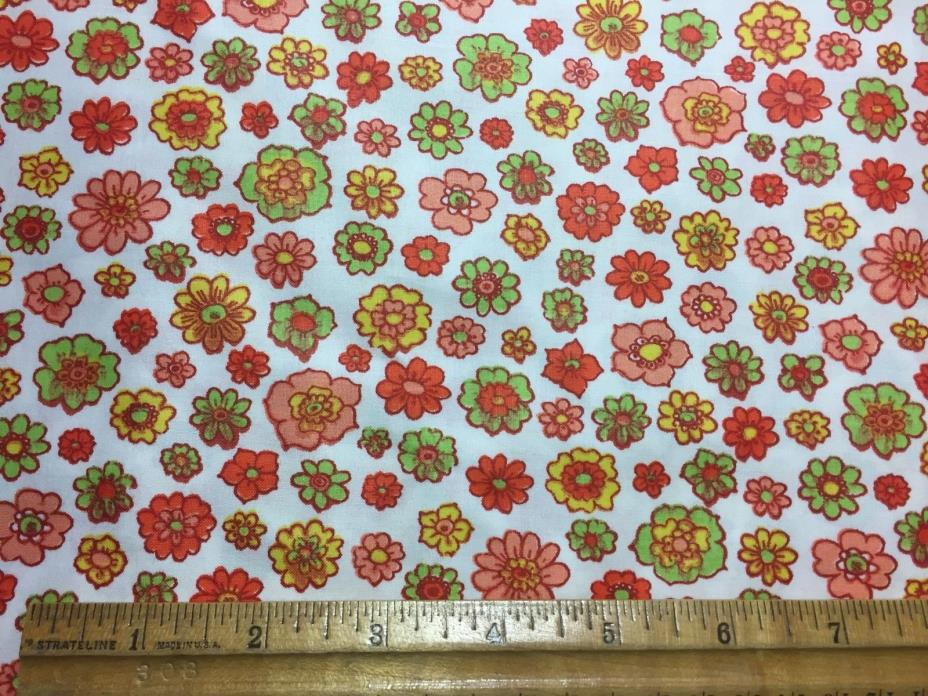 Vintage Cotton Fabric 50s CUTE Lil Green Yellow Pink Red Posies 35w 1yd