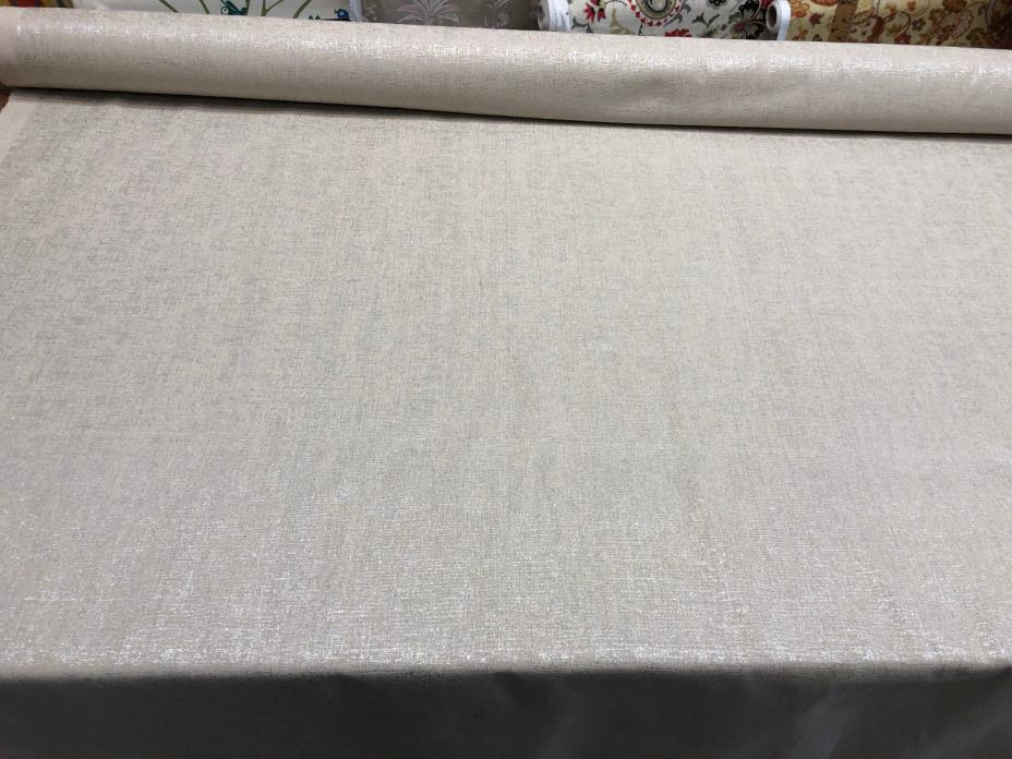 Sparkling Silver Shimmer Drapery Upholstery linen Fabric by the yard