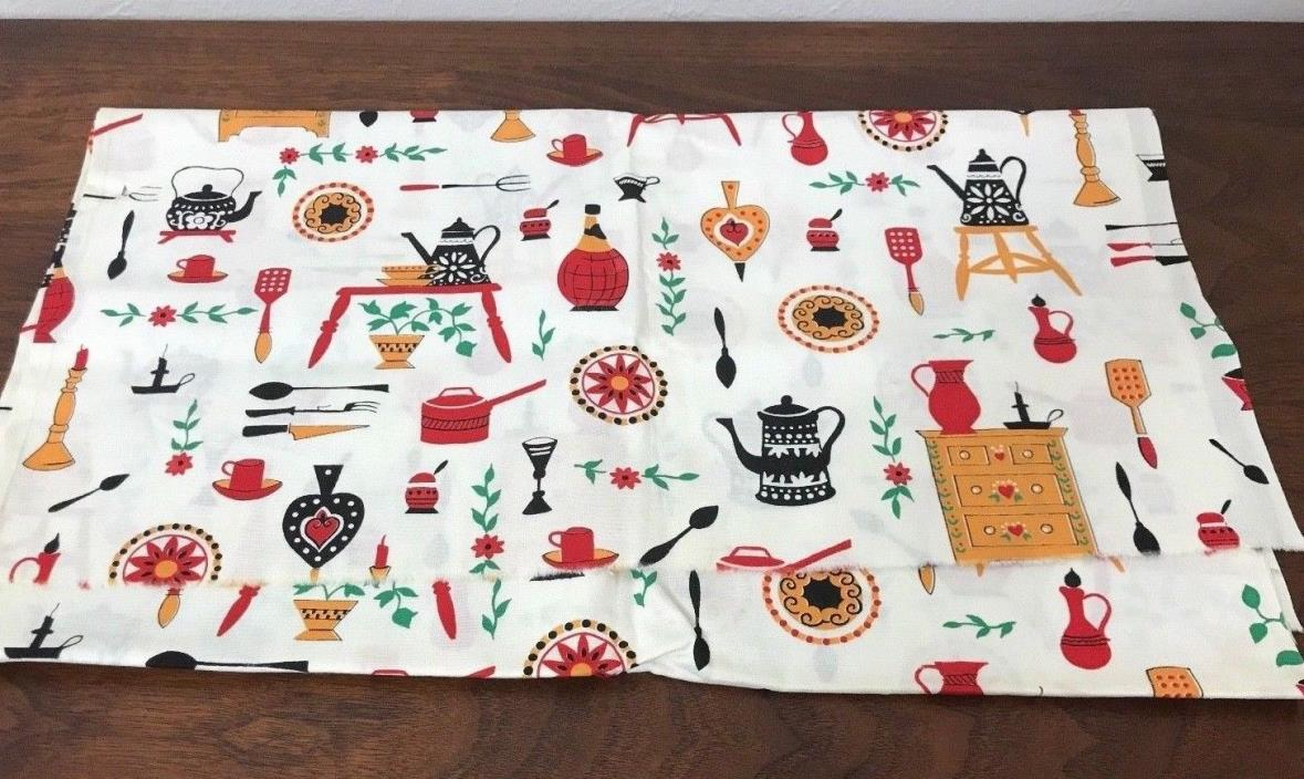Vintage Cotton Fabric Country KITCHEN Farmhouse Primitive Novelty Material-1 Yd