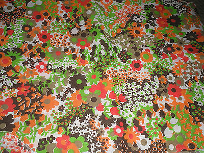 Vintage 1970s Orange Brown Lime Red White Floral Daisy Fabric 44 x 38
