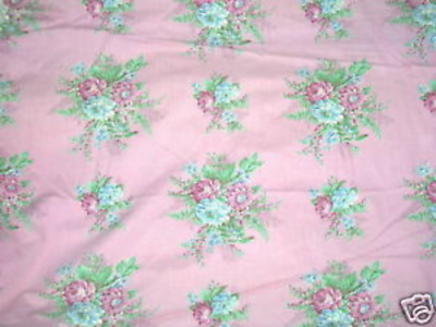Vintage 1930s French Floral Curtain Fabric Rose Barkcloth Era Cotton Fabric 36w