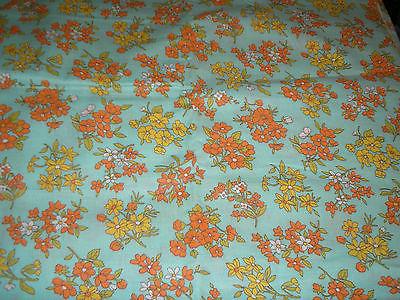 Vintage Blue Orange Yellow Floral Feedsack Feed Sack Fabric 36 x 62