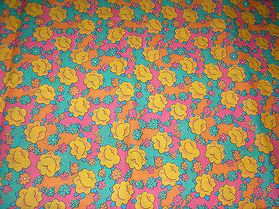 Vintage Pink Orange Green Floral Feedsack? Feed Sack Fabric 42 x 36