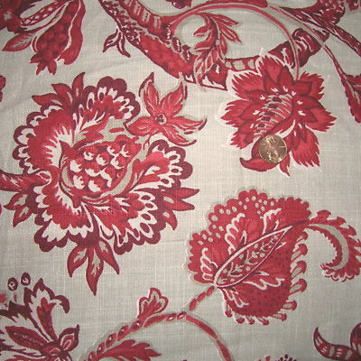 Vintage Robert Allen Home Botanical Fabric Cotton Floral Upholstery Drape Fabric