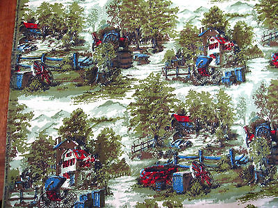 Vintage HOUSE+HOME Summer FARM+BUGGY trees/mountain FABRIC 48