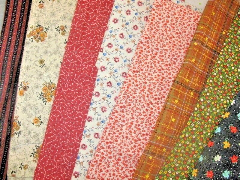 ESTATE VINTAGE FABRIC LOT  COTTON Fabric Sm Scale Prints BROWN ORANGE GOLD RUST