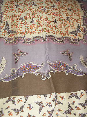 Vintage 1970s Border Novelty Butterfly Paisley Calico Dress Fabric 4 Yards