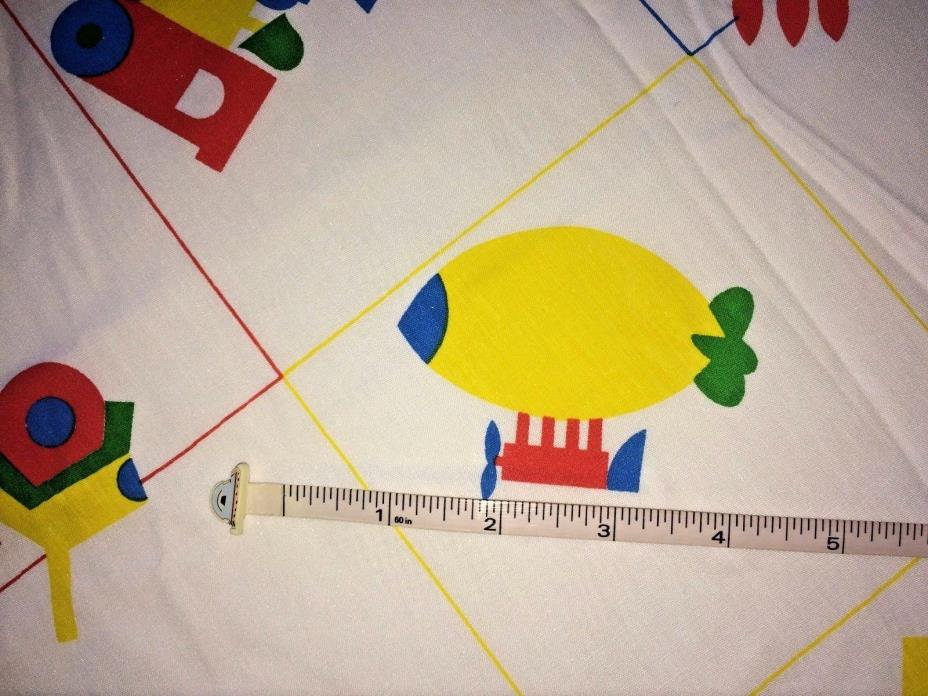 Vtg Children's Fabric Yellow Red Green Almost 3 Yds x 44 Train Blimp Rocket Jeep