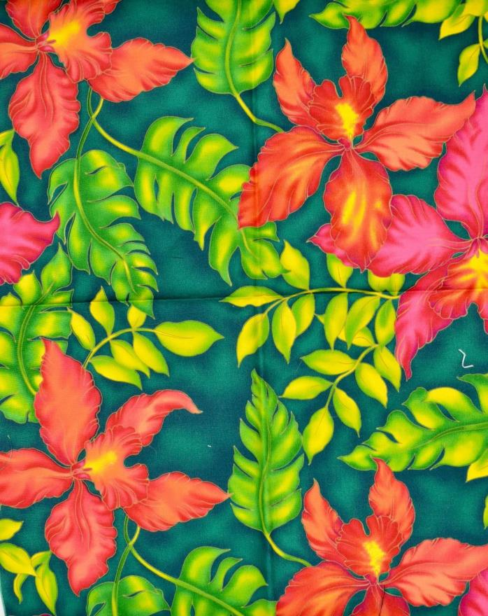 Hawaiian Print Green and Red Fat Quarter Cotton Fabric