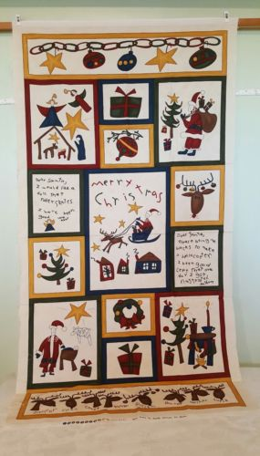 MODA COTTON FABRIC CHEATER PANEL QUILT TOP CHRISTMAS WALL HANGING DEAR SANTA