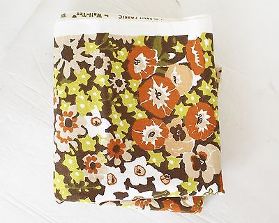 VTG Cotton Fabric Floral Silk Screened Wall-TEX 2 Pieces 18x32 each Brown Green