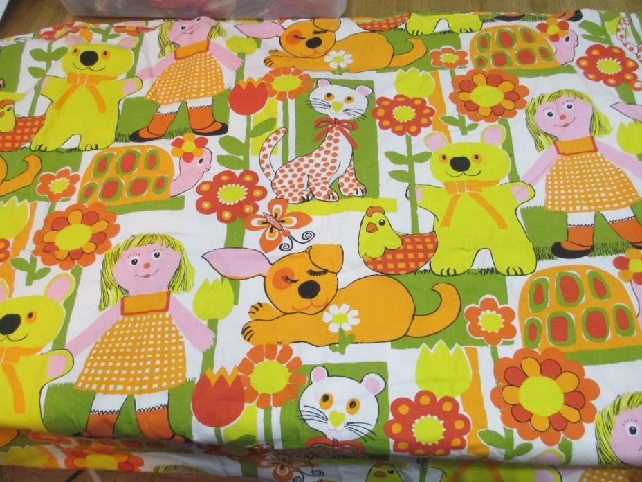 Vintage Fabric 1960's House N Home Fabric Girl Turtle Dog Cat Chicken Bear 1+ yd