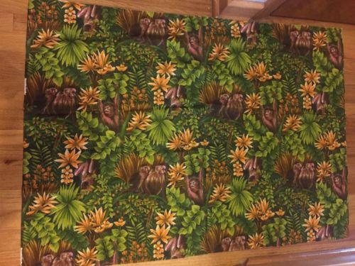VINTAGE Wesco Reltex Monkey Fabric Cotton Barkcloth