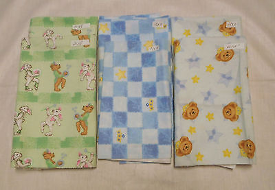 Fabric Remnants Quilting Crafting Brushed Cotton Prints Children Patterns 6 Pcs