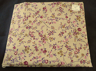 Fabric Cotton Print Purple Overall Floral Pattern on Light Brown 40W 1 1/2+ Yd