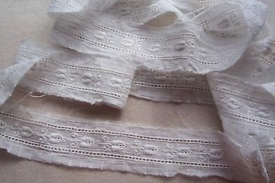 Vtg 100% Cotton Embroidered  Entredeux / Insertion Lace Trim for Antique Doll