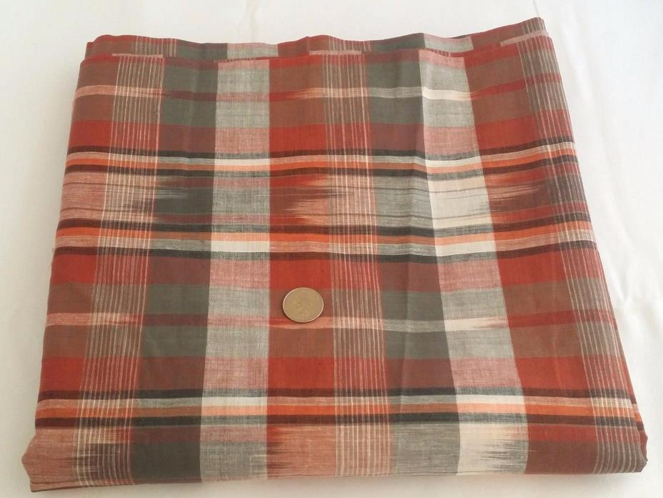 Vintage Brown Taupe Red Plaid Homespun Fabric Cotton Lawn 5.5 YDS