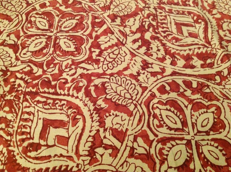 Beautiful Schumacher / Martyn Lawrence Bullard Red Senja Linen Fabric 5 1/2 Yds