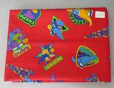 Fabric Cotton Print Vintage 1992 Sports Dinosaurs Richloom 54 Wide 1 1/2 Yards