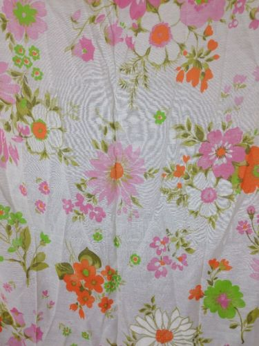 Vintage 1960s 1970s Flower Power Bright Vibrant Curtain Panels Craft Fabric NOS