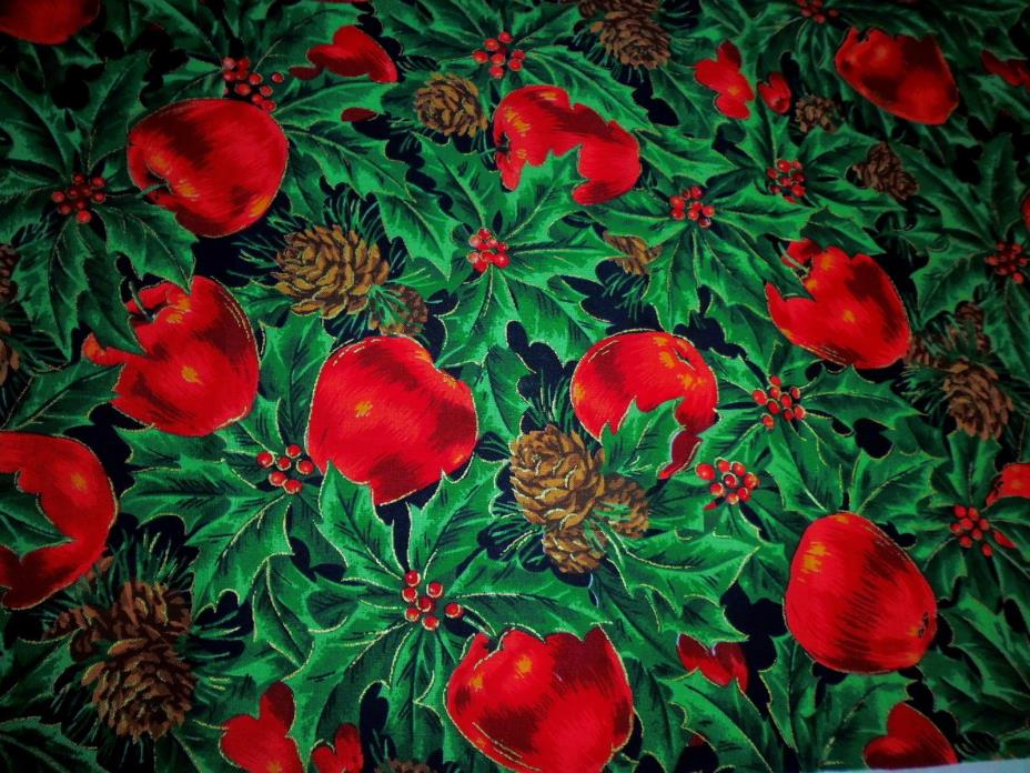 Cotton Fabric Cranston VIP Joan Messmore Red Apples Pine Cones Holly 3 YDS