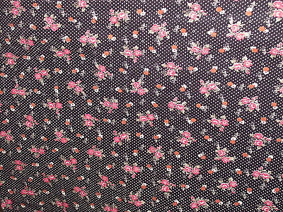 SHABBY COTTAGE PINK & ORANGE FLOWER BLACK POLKA DOT FABRIC PARIS APT CHIC 3+ YDS