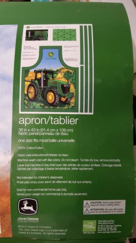COTTON FABRIC APRON PANEL JOHN DEERE TRACTOR CUT & SEW ONE SIZE FITS MOST