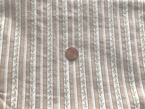 "ALMOST 2 YDx44"" Vintage TAN IVORY With Tiny Pink Rosebuds TICKING Cotton Fabric"