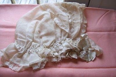 Vtg Victorian/Edwardian Hand Sewn Ladies Silk Sleep Bonnet Cap Ribbons/Lace