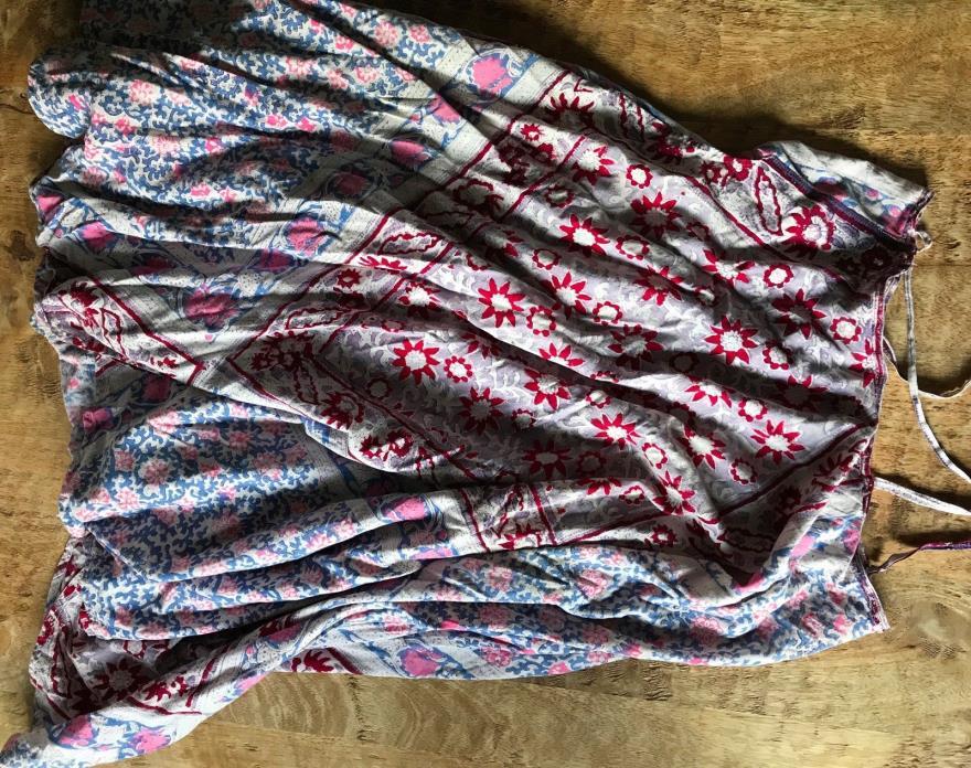 Vintage 70s India Cotton Block Print Fabric Remnant