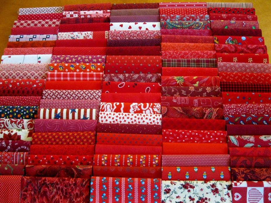 100 red tonalities prints pre cut charm pack 5