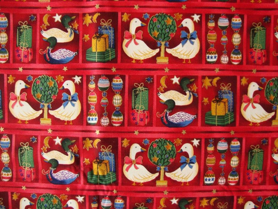 Red Cotton Christmas Fabric GEESE Beth Ann Bruske David Textiles BTY 43