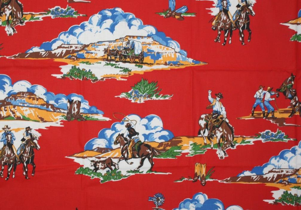 1 Yard Cowboy Bronco Horse Covered Wagon Red Cotton Fabric Sewing Quilting