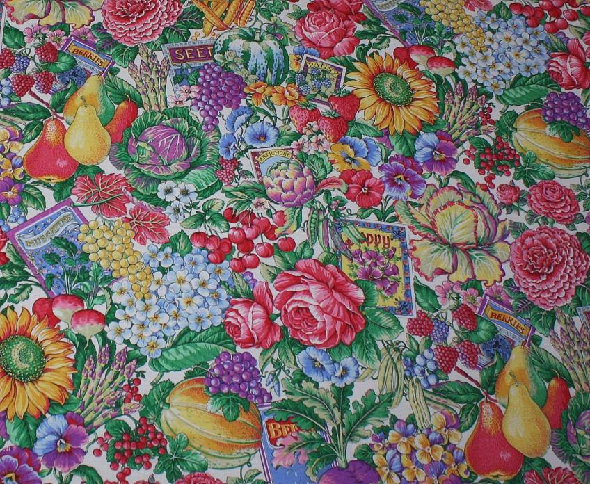 3 Yards Flowers Fruit Vegetable Seed Packets Concord Fabric Kessler Cotton Quilt