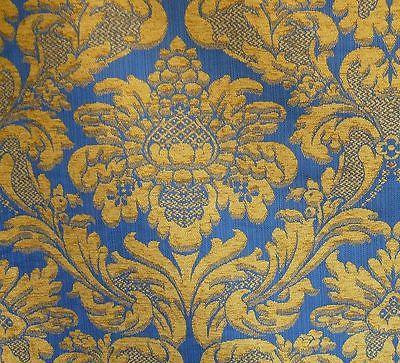 LEE JOFA MIDDLECREST CHENILLE GRAND DAMASK ROYAL BLUE & GOLD BTY