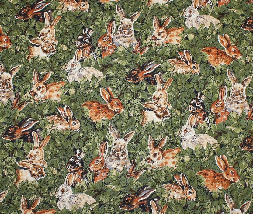 1 1/2 Yards Bunnies Rabbits in Green Leaves Camelot Hoffman Cotton Quilt Fabric