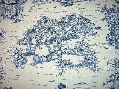 4 yds. Vintage French Country Toile Blue/White Decorator Drapery Fabric 54