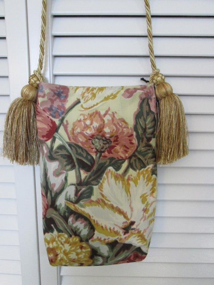 HANDCRAFTED HANDBAG MADE FROM VINTAGE MID CENTURY MODERN BARKCLOTH FABRIC