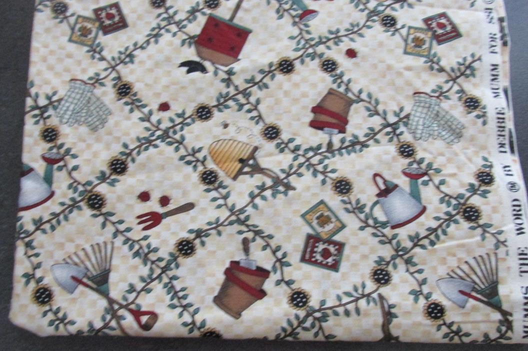 1 2/3 yds GARDENING/BIRDHOUSE Mumm's The Word Quilt/Sew SSI Fabric  111-69