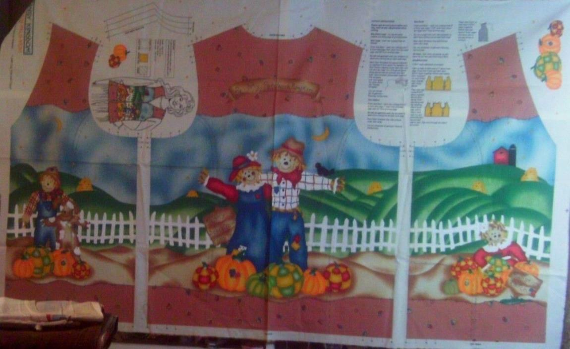 1 Yd Vtg Fall Vest Fabric Panel Pumpkin Pals Scarecrow Patch Women's Patchwork